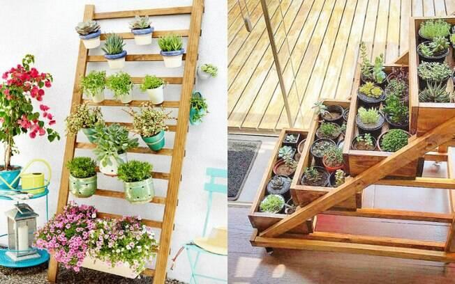 Para ter um jardim vertical em casa, uma das alternativas é utilizar um suporte de madeira para colocar as plantas