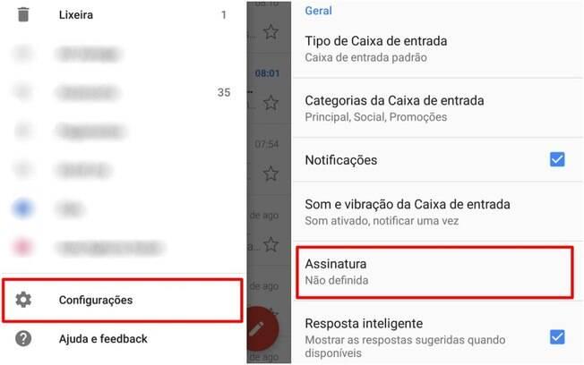 Aplicativo do Gmail para dispositivos móveis não oferece opções de formatação para a assinatura