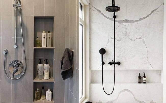 Nichos embutidos nas paredes poupam espaço em banheiros pequenos