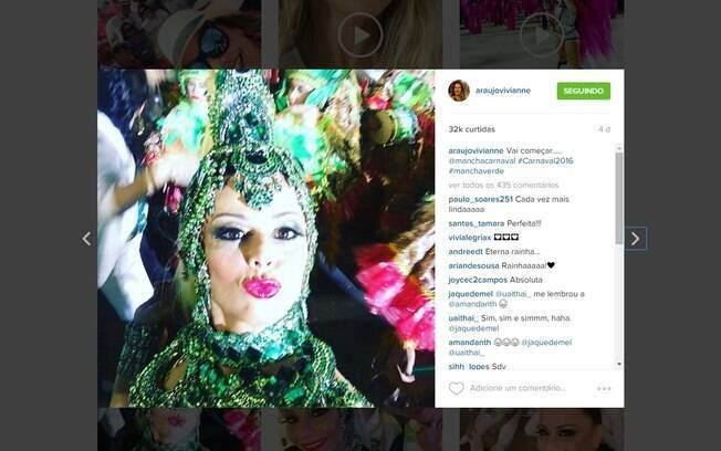 Jurado que flagrou Viviane Araújo, rainha de bateria, fazendo selfie durante desfile