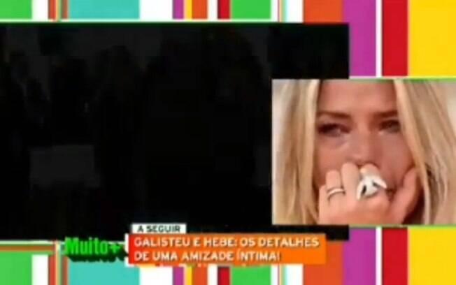 Adriane Galisteu chora ao assistir vídeo de homenagem à Hebe Camargo