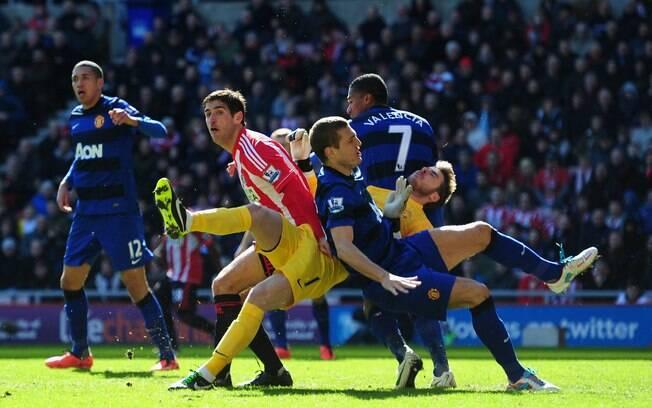 Manchester United do técnico Alex Ferguson  sofreu para fazer 1 a 0 no Sunderland