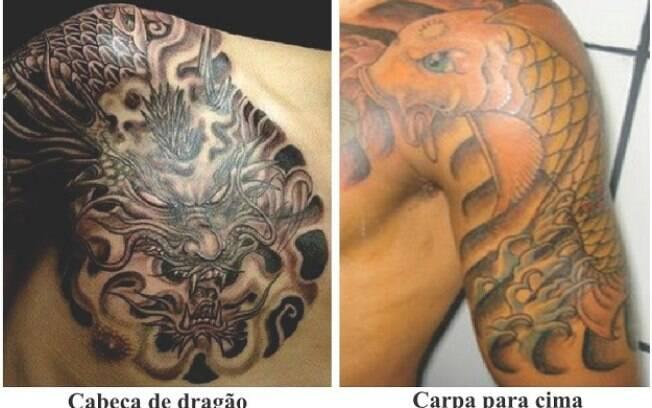 Tatuagens de carpa indica que o preso está relacionado com formação de quadrilha e tráfico de drogas