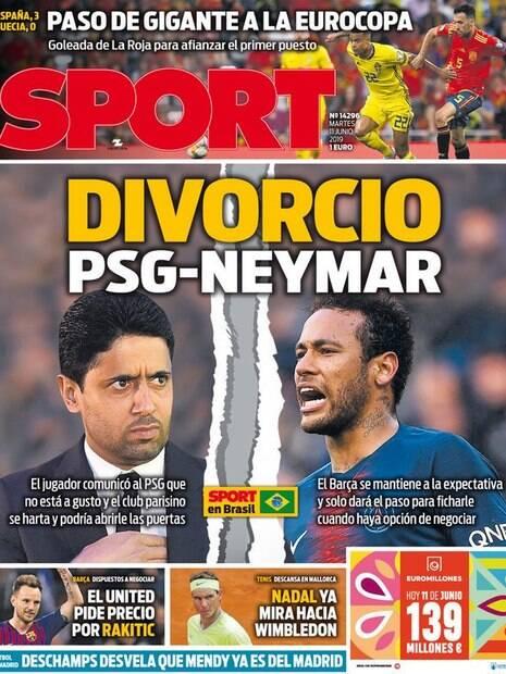 Capa do Sport indica fim do ciclo de Neymar no PSG