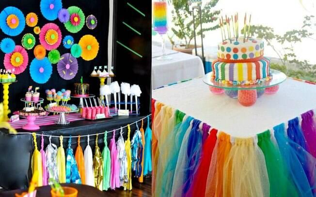 Importante na hora de montar a mesa do bolo é deixá-la o mais colorida possível, seja ela grande, cheia de doces ou pequena