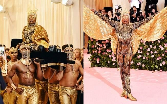 Billy Porter chegou ao Met Gala 2019 sendo carregado em um trono e exibiu um look que foi totalmente feito de ouro puro