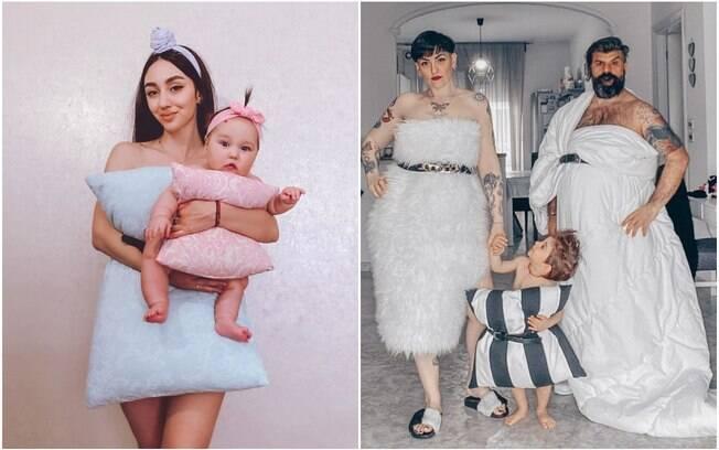 mulheres usando fronhas como vestido