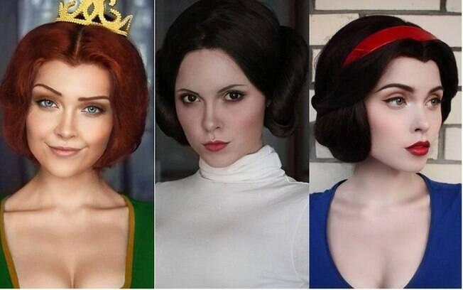 Com maquiagem artística,  Ilona Bugaeva consegue se transformar em qualquer personagem conhecido pelo público