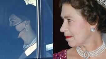 Kate Middleton usa colar da Rainha no funeral de Príncipe Philip