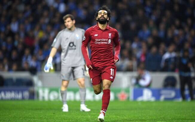 Salah marcou o segundo gol do Liverpool para classificar o time para a semifinal da Liga dos Campeões