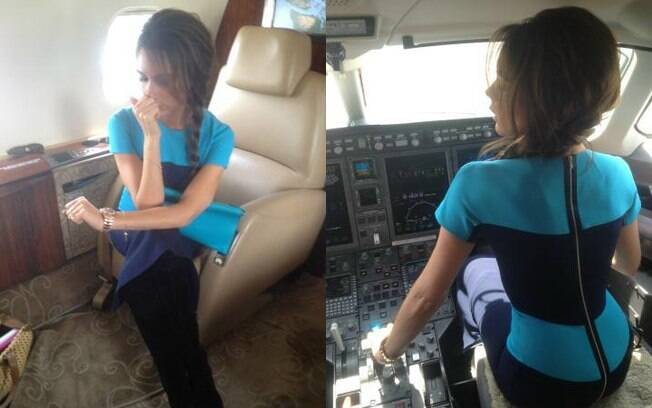 Victoria Beckham brincou de pilotar jatinho e de revolta com decoração durante voo para Vancouver, Canadá
