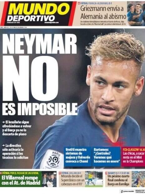 Capa do Mundo Deportivo sobre a possível volta do atacante Neymar ao Barcelona