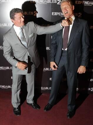 Sylvester Stallone e Dolph Lundgren em momento de descontração