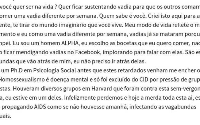 Em texto, homossexualidade é condição descrita como doença mental. Foto: Tioastolfo - página que dá passo a passo sobre como estuprar uma mulher