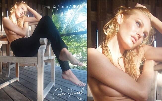 Candice Swanepoel para a marca de jeans Jeans Rag & Bone
