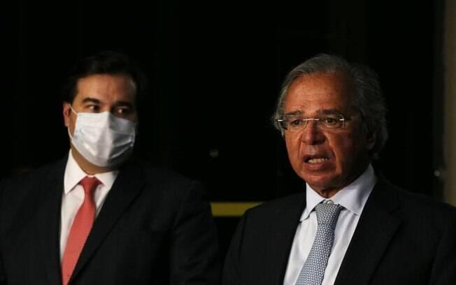 Paulo Guedes, ministro da Economia, e Rodrigo Maia, presidente da Câmara, enfrentaram desentendimento público recentemente