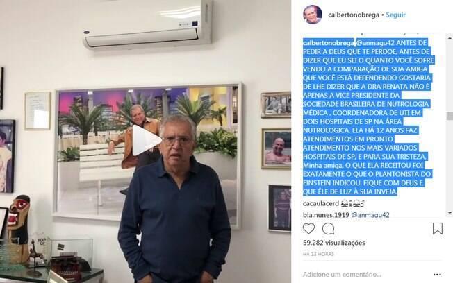 Carlos Alberto de Nóbrega rebate de seguidora nas redes sociais