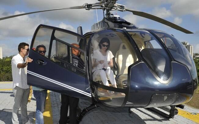 O trio subiu a bordo do helicóptero para cumprir o desejo de Chico