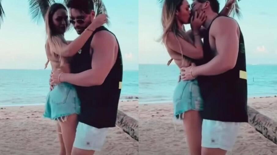 Sarah e Lucas fazem dança sensual e trocam beijos