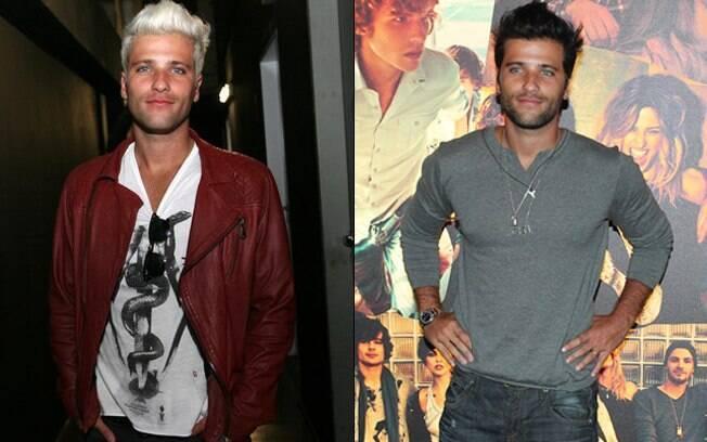 Na esquerda, Bruno Gagliasso de cabelos platinados, em janeiro. Na direita, novamente moreno nessa quarta-feira (29)