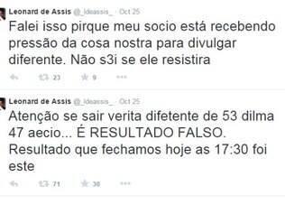 Mensagens disparadas no Twitter de Leonard Assis e confirmadas por ele depois