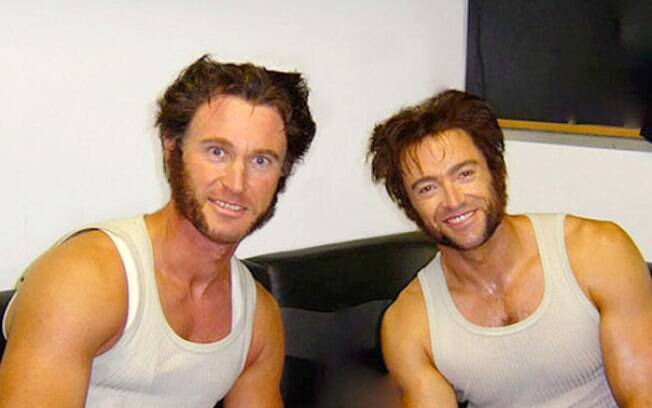 Hugh Jackman e seu dublê Richard Bradshaw durante filmagens de X-Men