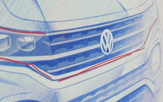 Detalhe em esboço oficlal da Volkswagen revela como será a frente do novo SUV compacto, derivado do Polo