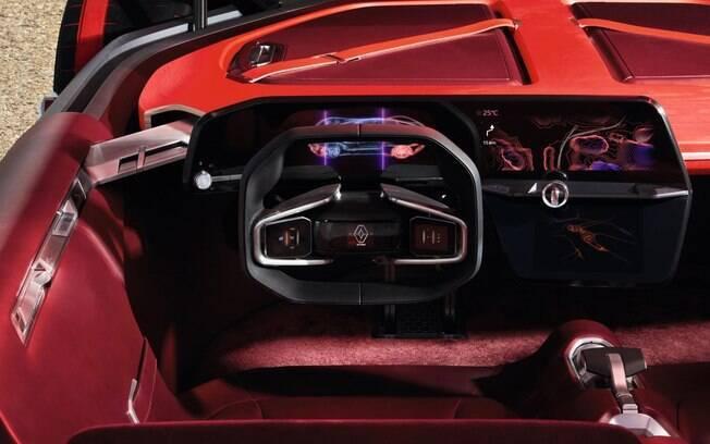 O interior do Renault TreZor usa uma tela de alta definição que combina as tecnologias OLED com Gorilla Glass.