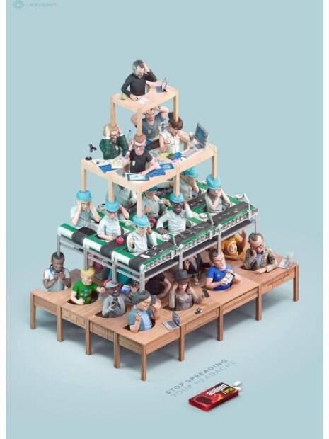 A marca de analgésicos Liomont preferiu explorar a arte por meio de pequenos bonecos imitando a estrutura de uma empresa com Steve Jobs no comando