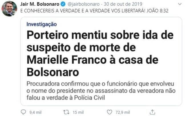 Tweet feito por Bolsonaro em outubro de 2019