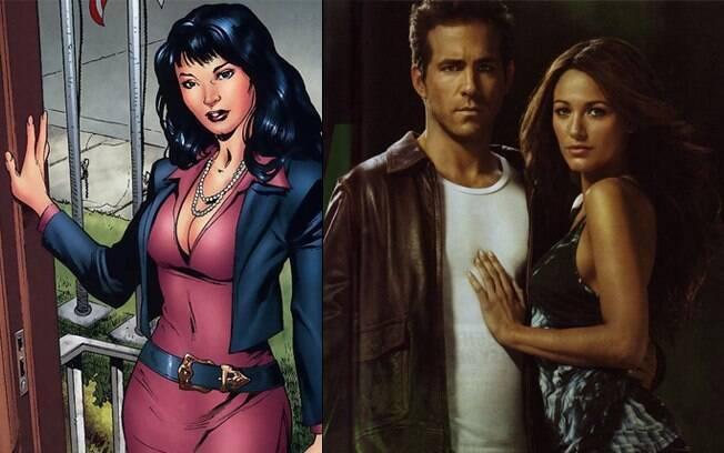 A Carol Ferris original, dos quadrinhos, e Blake Lively e Ryan Reynolds na versão para o cinema de