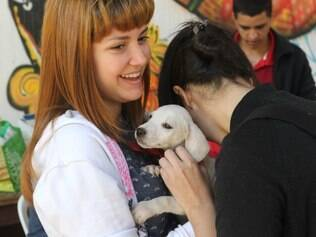Cidades - Comissao de Controle de Zoonoses da Fafich / UFMG e a ONG Bastadotar ,  promovem a Feira da Solidariedade que disponibiliza para adocao gatos e cachorros .  A feira acontece na arena da Fafich da UFMG na Pampulha em Belo Horizonte MG. Na foto: Idgie Pena e Bruna Sanchez . Foto: Alex de Jesus/O Tempo 30/04/2014