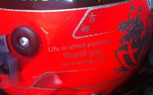 Capacete de Schumacher tem frase em inglês de despedida, que em tradução livre significa