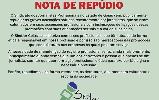 Nota do Sindicato dos Jornalistas de Goiás