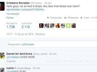 Cristiano Ronaldo tuíta chegada de portugueses e chama fãs: