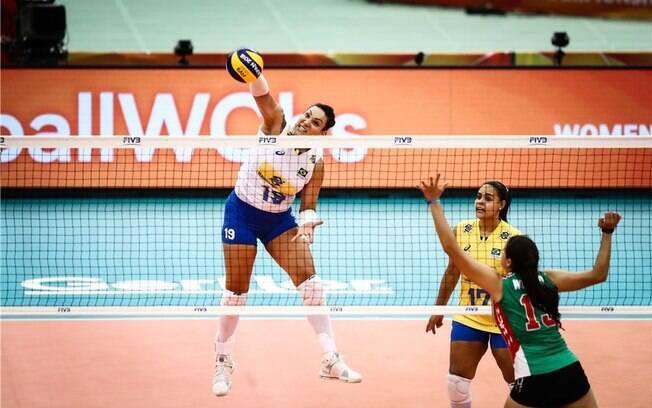 Seleção brasileira feminina de vôlei venceu o México no Mundial