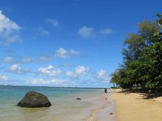 Caminhada descontraída pelas areias da bela praia de Anini Beach