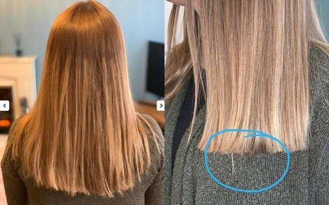 Após pagar R$885 para clarear o cabelo, uma mãe compartilhou a insatisfação com resultado  em fórum nas redes