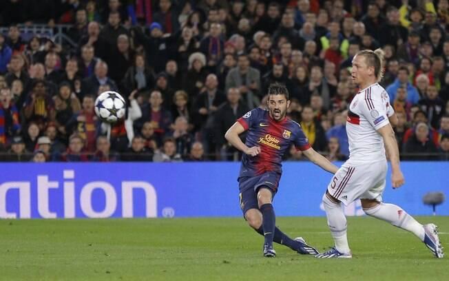 David Villa marcou o terceiro gol do  Barcelona contra o Milan