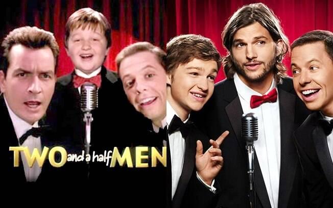 O pôster com a formação original da série, com Charlie Sheen, e com a formação atual, com Ashton Kutcher: Kutcher agora é quem usa a gravata vermelha e fica no meio