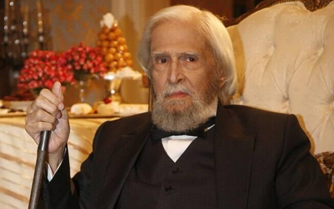 Sergio Britto caracterizado como D. Pedro II em especial de fim de ano da Globo, em 2008