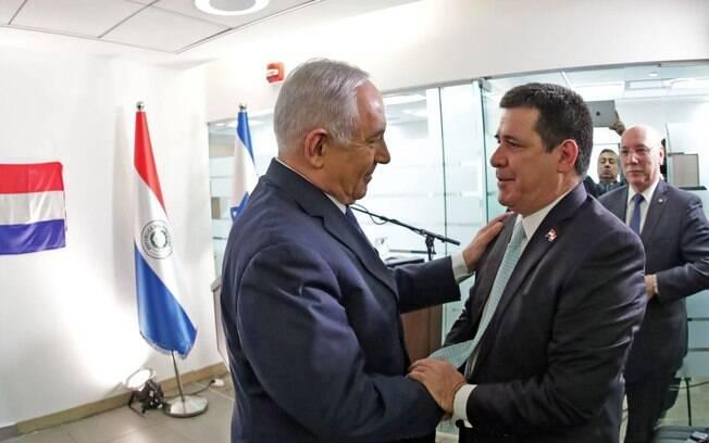 O presidente do Paraguai, Horacio Cartes, inaugurou, nesta segunda-feira (21), a embaixada em Jerusalém