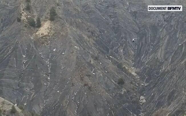 Imagens do local em que caiu o avião A320 com destino a Dusseldorf. Foto: AP