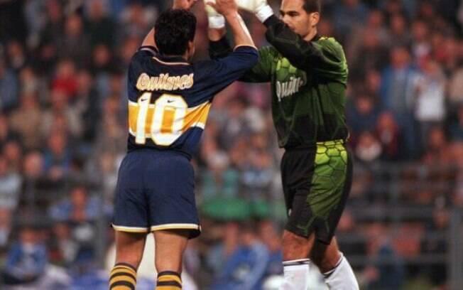 José Luis Chilavert, ex-goleiro da seleção do Paraguai, e Maradona, ex-jogador da seleção argentina. Foto: Reprodução