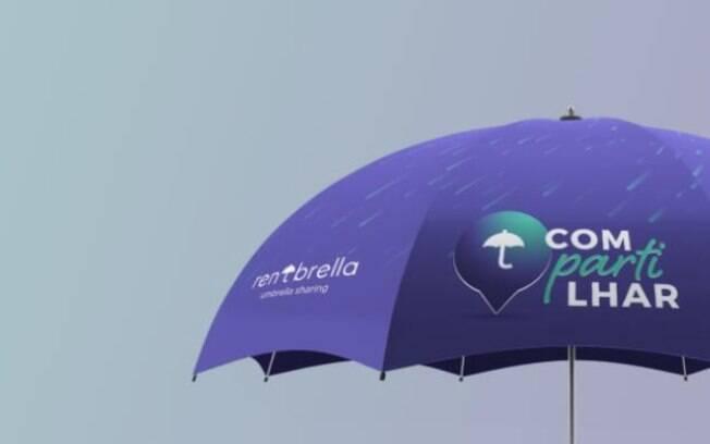 30 mil guarda-chuvas roxos da Rentbrella já estão disponíveis para uso na região da Avenida Paulista em São Paulo