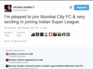 Atacante francês fez o anúncio do acerto com o Mumbai City FC através do Twitter