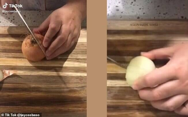 O usuário mostrou que cortar a cebola é mais fácil do que parece