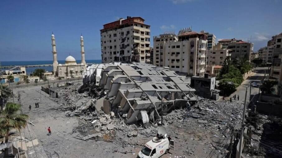 Edifício Hanadi destruído na Cidade de Gaza