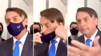 Bolsonaro tira a máscara e manda repórter