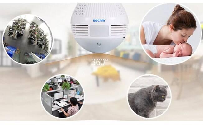 Câmera IP Lâmpada LED QP136 960P WiFi; por R$299.90 em até 12x de R$24,99 sem juros.